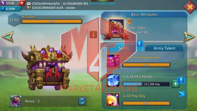 [ SALE OFF ] Account 821M – 350M Research – 551K Gems – Watcher Gold – Research T5 Good – 28 MS – 500$