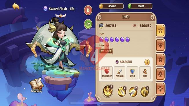 iOS – Lv299 – S108 – VIP 11 – 3 Void Heroes Halora + Xia + Asmodel – 16 Heroes E5 – 25 Skins – 20M6 Power