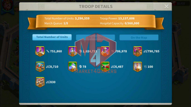 Account 51M Near T5 ** Vip 12 ** Maxed 3 Commanders ** 3M Credits