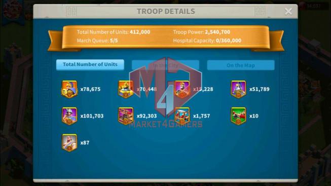 SOLD Account 50M Power ** Maxed 5 Commanders ** 2 Farm Accounts