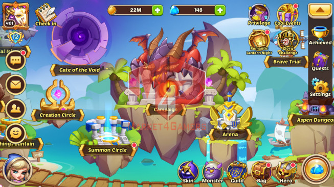 Android – Lv401- S1 – VIP 12 – 2 Void Heroes Jahra + Asmodel – 32 Heroes E5 + 2E1- 27 Skins – 29M Power