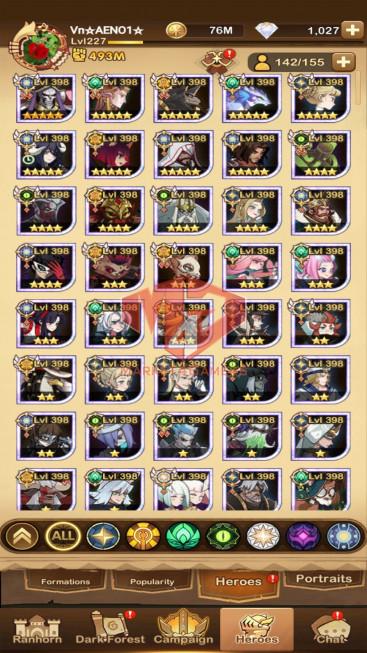 AFK 493M – Vip 10 — S556 — 42 Heroes Ascended – 8 Dimensional Heroes + acc 430M S554