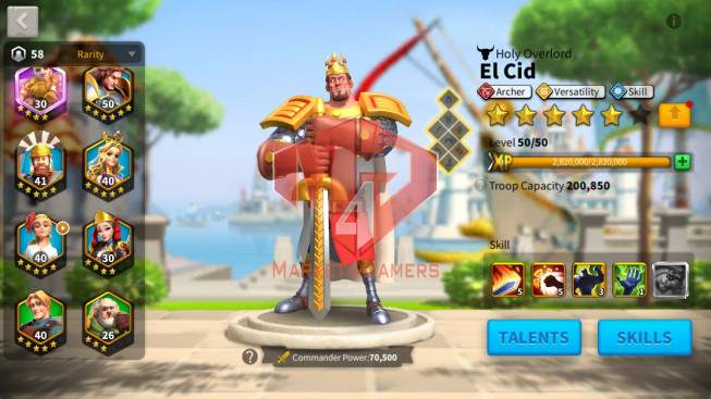 Account 58M T5 ** Maxed Guan Yu, Aethef ** 8.8M Credits ** 2 Farm Account