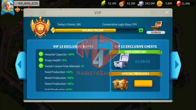 Account 66M T5 ** Vip 13 ** Maxed 4 Commanders Cavalry ** 5.4M Credits ** 253 Gold Heads