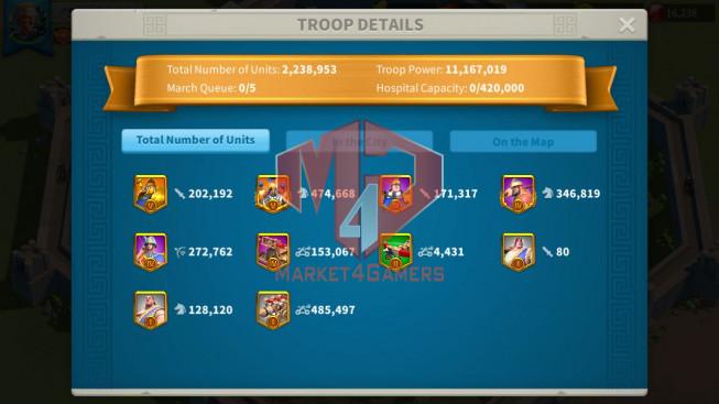 Account 58M T5 ** Vip 13 ** Maxed 3 Commanders ** Second Acc 35M ** 2 Farm Accounts