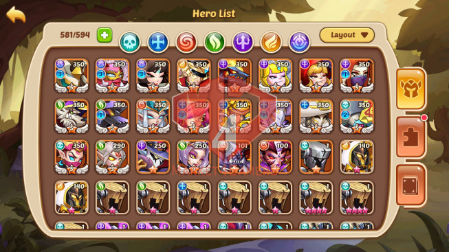 Android – Lv332 – S25 – VIP 10 – 3 Void Heroes Halora + Xia + Asmodel – 17 Heroes E5 + 1E3 – 37 Skins – 21M Power