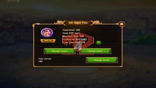iOS 180WLD – Vip 14 – GA 909k – Arena 457k – Total Power 1M4 – 17k gem