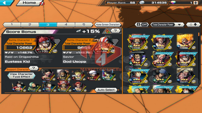 OPBR56 4ex max roger -shanks-oden-bigmom – teech lv83- support 146% – many good character