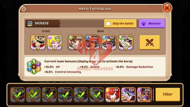 [SOLD].Android – lv189 – vip 5 – s826 – 5 Heroes E5 – 5M POWER -13SKINS