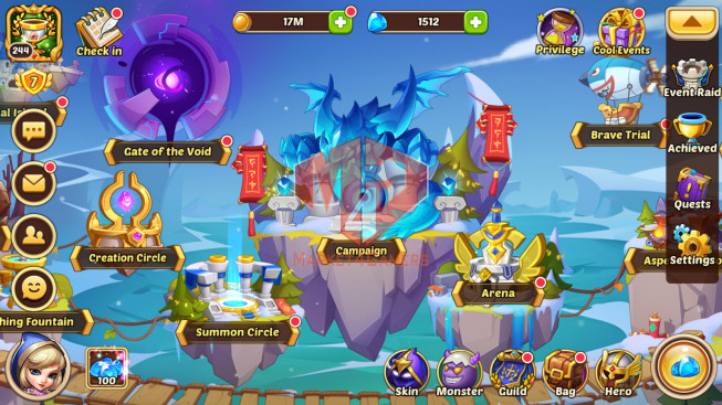 Android – lv 244 – vip 7 – s64 – 9 Heroes E5 – 9M3 POWER – 23 SKINS