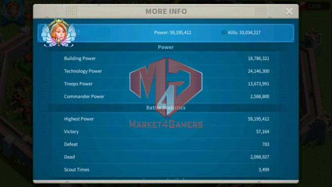 SOLD Account 59M Power ** Maxed 4 Commanders ** Farm Account
