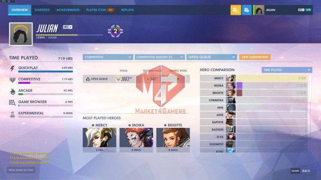 Account 719hours played -rank master – lv 641- 5 gold weapon – 4 rare skin
