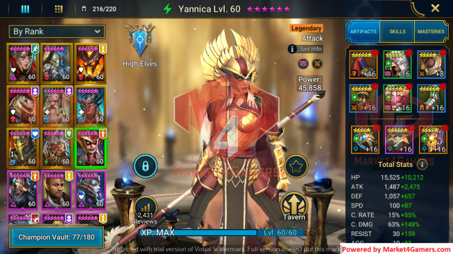 All Devices Account 2M5 Power ** Lvl 77 ** 18 Heros Legend
