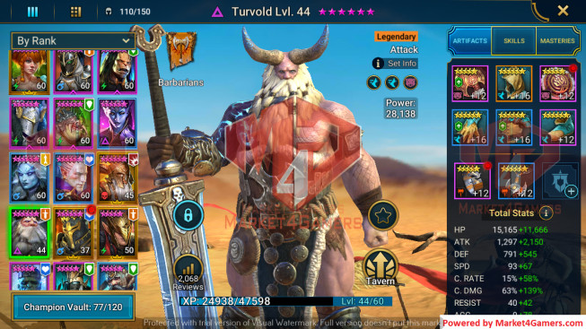 All Devices Account 1M2 Power ** Lvl 66 ** 13 Heros Legend