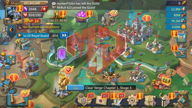 706M ( 5MS Kingdom 187 , 799m stone , 1,6b wood , 1,1b ore , 318m gold , skin house )