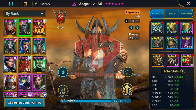 All Devices Account 1M9 Power ** Lvl 70 ** 13 Heros Legend