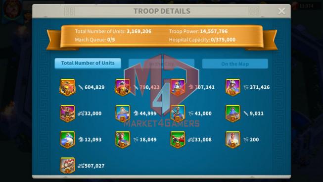Account 58M T5 ** Vip 13 ** Maxed 3 Commanders ** 3 Farm Accounts ** 4M6 Credits