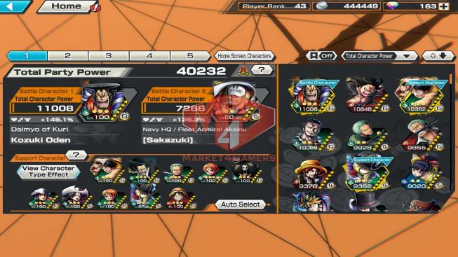 OPBR63 ios Max 1 EX Oden – azuki lv 60 + 163 gem
