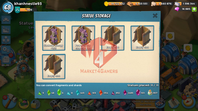 All Devices Account LV 68 I HQ 24 I 16885 Gems I Power Powder 2917