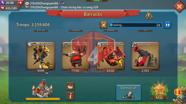 Account 414M Research 237M Troops 3M