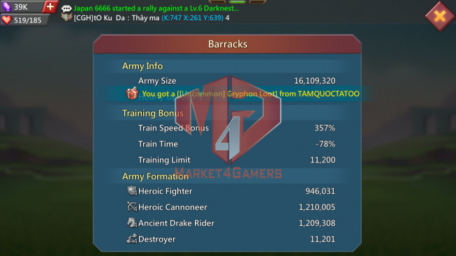 Account 511M  Kd 747  Research 192M  Troops: 16M