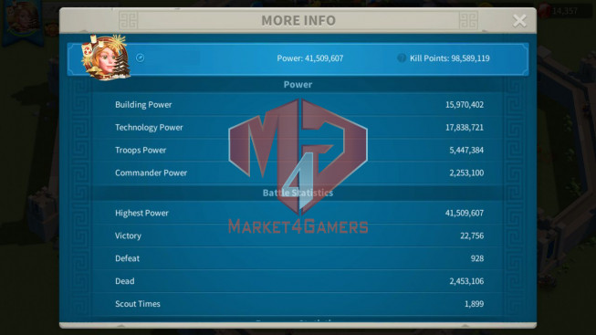 Account 41M Power ** Maxed 4 Commanders ** 1M5 Credtis