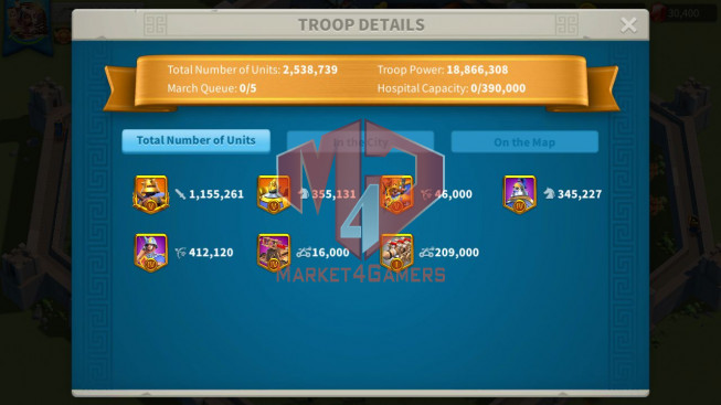 Account 70M T5 ** Maxed 8 Commanders Infantry ** 2M5 Credits ** 30K Gems