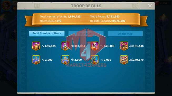 Account 44M ** Vip 13 ** Maxed 3 Commanders ** Farm Account ** 37K Gems