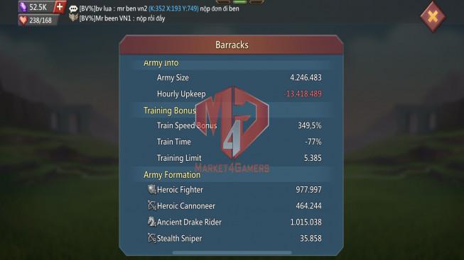 Account 288M |Kd:352|Research 132M | Troops: 1M | 2 MS ( T4 MINI )