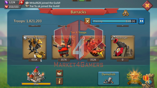 Account 296M |Kd:565|Research 190M | Troops: 1M8 | 1 MS pact 4