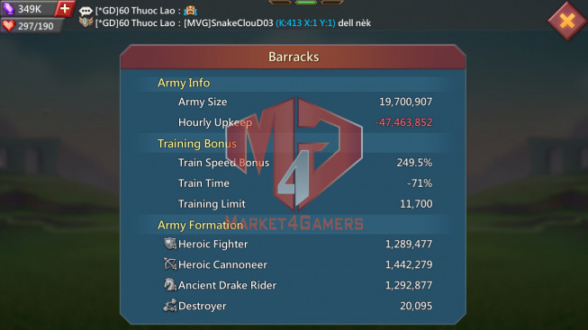 Account 628M  Kd:413 Research 267M   Troops: 19 M   3 MS