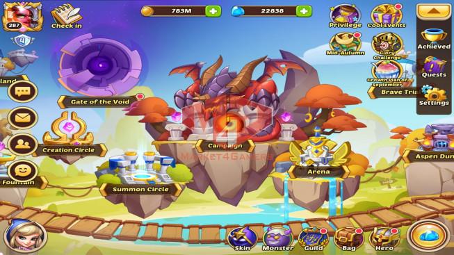 IOS – Lv287 – S35 – VIP4 – 2 Void Heroes Halora , Xia – 10 Heroes E5 + 1Heroes E4 + 1E3 – 42Skins – 20M Power