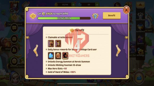 iOS – Lv267 – S87 – Vip 9 – 1Void Hero SQH – 9 Heroes E5 +1E2 – 6M4 Power – 17 Skins