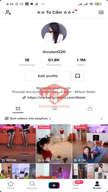 ✅ Account 61.8k Followers – 1.1M Likes – Entertainment Channel – Turn On Live Stream
