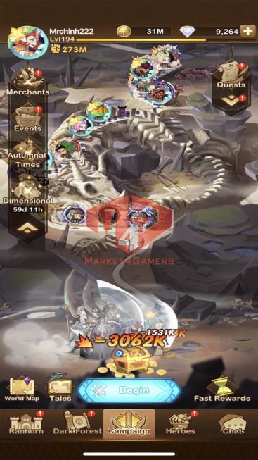 AFK 273M– Vip 11 — S750 — 40 Heroes Ascended – 8 Dimensional Heroes