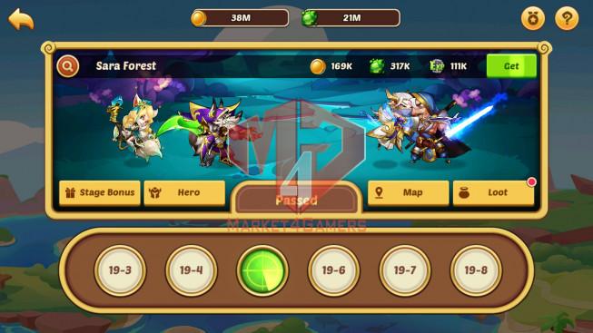 Android – Lv164 – S876 – VIP 3 – 1 Void Heroes Xia – 6 Heroes E5 + 1E4 + 1E3 – 11 Skins – 13M Power