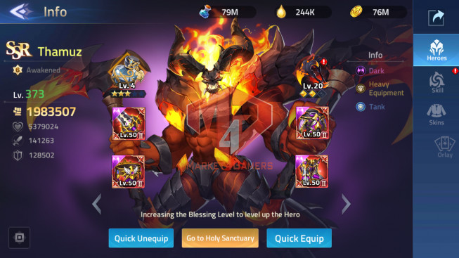 All Devices Account Lv275 – Vip 10 – 46 Heroes Awakened