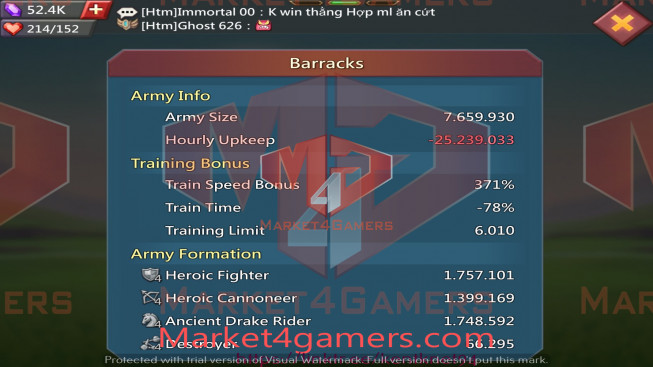 501M |Kd:626 – Research 224M | Troops: 2M | 3MS