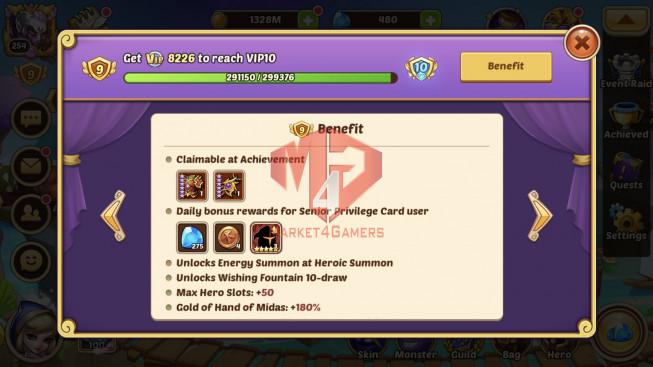 iOS – Lv254 – S24 – Vip 9 – 9 Heroes E5 – 5m5 Power – 21 Skins