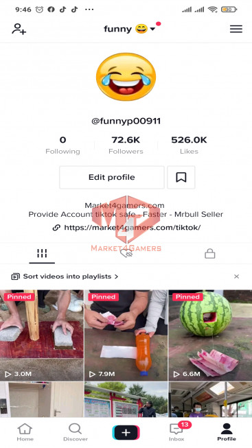 ✅ Account 72.6k Followers – 526.0k Likes – Funny Channel – Registered Creator Fund