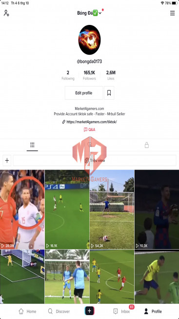 ✅ Account 165.1K Followers – 2.6M Likes – FootBall Channel – Registered Creator Fund