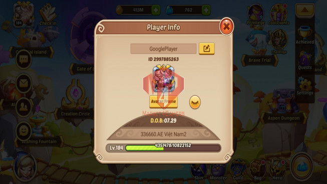 Android – Lv184 – S29 – 2 Void Heroes Halora + Xia – 8 Heroes E5 + 1 E4 + 1 E3 – 15 Skins – 16M Power