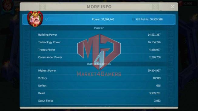 Account 37M Power ** Vip 14 ** Maxed 3 Commanders ** Farm Account