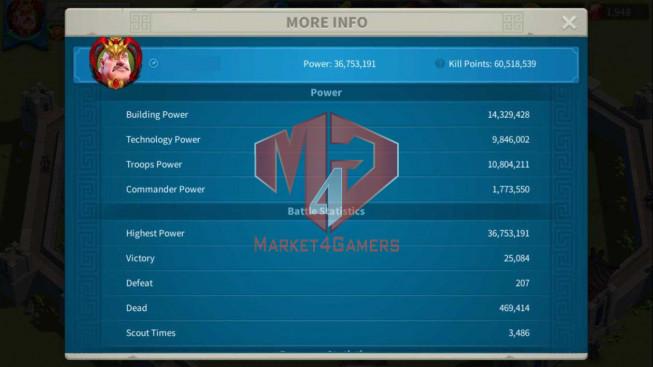 Account 36M Power ** Vip 13 ** Maxed Khan, Aethef ** 3M8 Credits