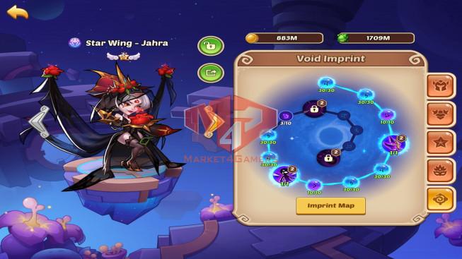 IOS – Lv299 – S90 – VIP9 – 3 Void Heroes Halora + Xia + Jahra – 16 Heroes E5 – 21 Skins – 23M Power