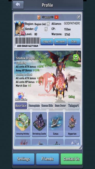 lv 80 – 150ee – VIP 8 -s760 – max Nimitz + tywin – navy + army