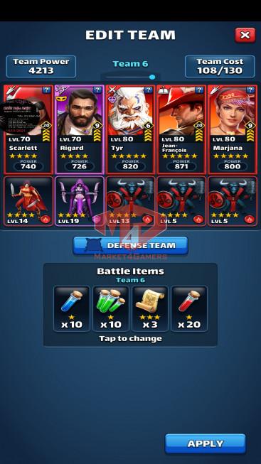 Android Lvl 62, Team Power 4615, 16 Heros Lvl 80, Troop lv14 – lv 19