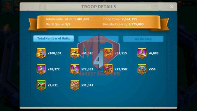 SOLD Account 51M Power T5 ** Vip 14 ** Maxed 8 Commanders ** Farm Account ** 37K Gems