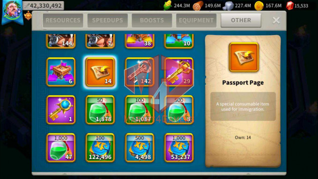 SOLD Account 42M Power ** Vip 13 ** Maxed 4 Commanders ** 14 Passports ** Castle 25