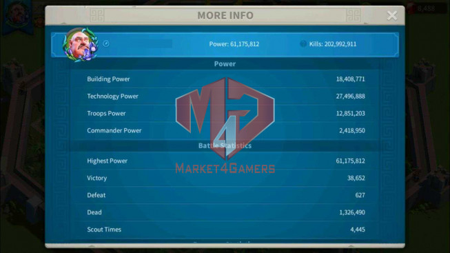 SOLD Account 61M Power ** Vip 15 ** Maxed 8 Commanders ** 8 Passports ** Farm Account